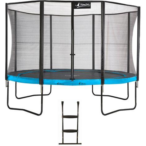 Trampoline de jardin 365 cm + filet de sécurité + échelle PUNCHI Bleu 360 - Bleu