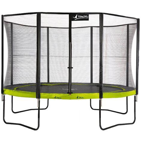Trampoline de jardin 365 cm + filet de sécurité PUNCHI Vert 360 - Vert