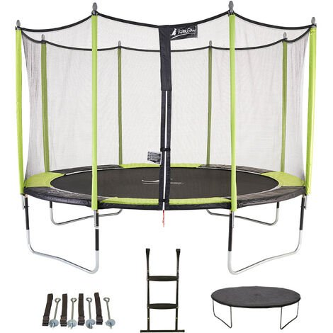 Trampoline de jardin 426 cm + filet de sécurité + échelle + bâche de protection JUMPI POP 430