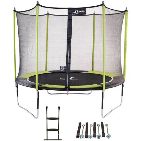 Trampoline de jardin 305 cm + filet de sécurité + échelle + kit d'ancrage JUMPI Vert/Noir 300 - Vert