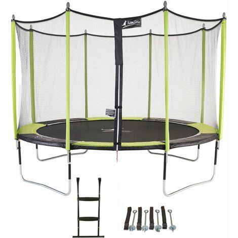 Trampoline de jardin 426 cm + filet de sécurité + échelle + kit d'ancrage JUMPI POP 430
