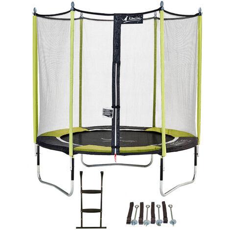 Trampoline de jardin 244 cm + filet de sécurité + échelle + kit d'ancrage JUMPI Vert/Noir 250 - Vert