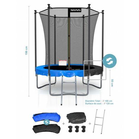 Trampoline de Jardin Classique - Pack trampo avec Matelas Réversible Bleu/Noir, Echelle, Filet de sécurité, Tapis de saut- choix taille