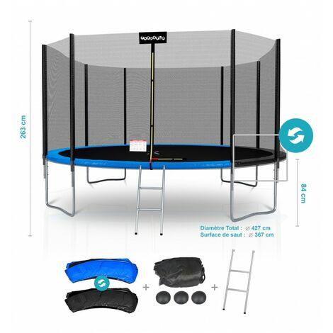 Trampoline de Jardin Deluxe 14FT ø427cm Réversible Bleu / Noir - Pack trampo Extérieur avec Echelle, Filet de sécurité et Tapis de saut