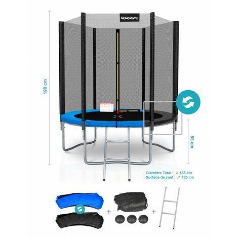 Trampoline de Jardin Deluxe 6FT ø185cm Réversible Bleu / Noir - Pack trampo Extérieur avec Echelle, Filet de sécurité et Tapis de saut