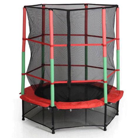 Trampoline de jardin enfants Ø 1,40 × 1,60H m filet de sécurité porte zipée couvre-ressorts + 6 poteaux rembourrés inclus noir rouge vert