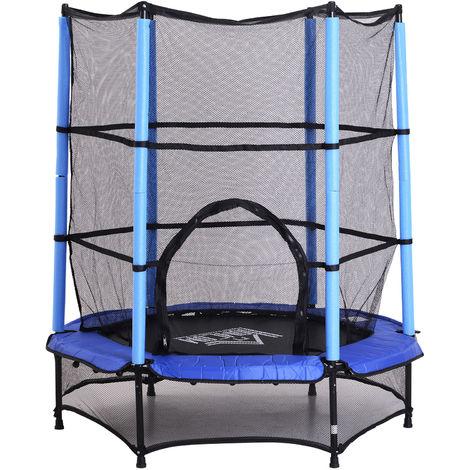 Trampoline de jardin enfants Ø 1,40 × 1,62H m filet de sécurité porte zipée couvre-ressorts + 6 poteaux rembourrés inclus bleu