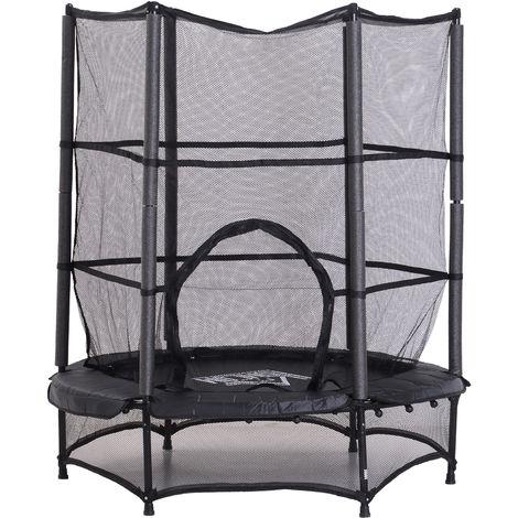 Trampoline de jardin enfants Ø 1,40 × 1,62H m filet de sécurité porte zipée couvre-ressorts + 6 poteaux rembourrés inclus noir
