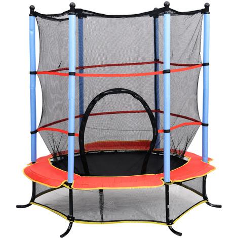 Trampoline de jardin enfants Ø 1,40 × 2,02H m filet de sécurité porte zipée couvre-ressorts + 6 poteaux rembourrés inclus noir rouge bleu