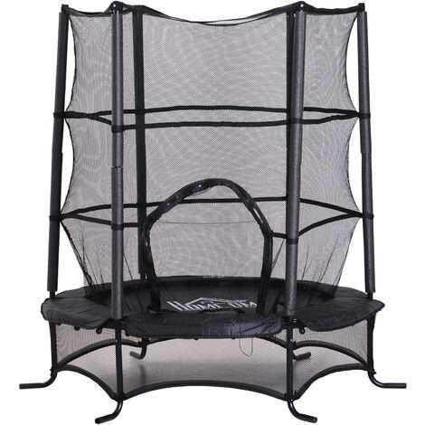 Trampoline de jardin enfants Ø 1,70 × 1,62H m filet de sécurité porte zipée couvre-ressorts + 6 poteaux rembourrés inclus noir