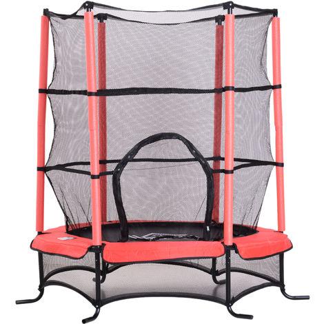 Trampoline de jardin enfants Ø 1,70 × 1,62H m filet de sécurité porte zipée couvre-ressorts + 6 poteaux rembourrés inclus rouge