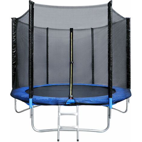 Trampoline de Jardin Enfants et Adultes Jeux d\'Extérieur Noir et bleu Avec Filet de sécurité Couverture de protection