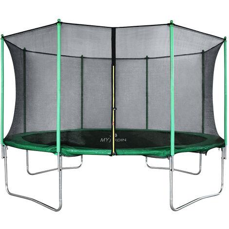 Trampoline de Jardin Enfants et Adultes Jeux d'Extérieur Noir et Vert Avec Filet de sécurité Couverture de protection