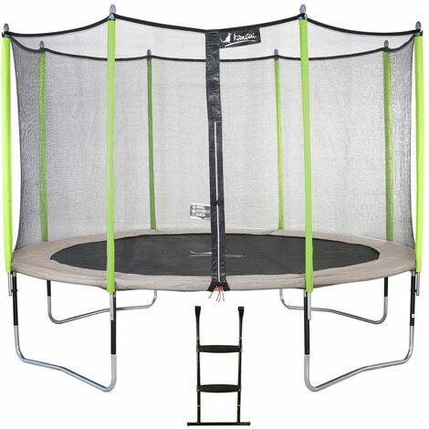 Trampoline de jardin JUMPI Beige + Filet + Échelle - Ø 250 - 305 - 360 - 430 cm