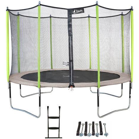 Trampoline de jardin JUMPI Beige + Filet + Échelle + Kit d'ancrage - Ø 250 - 305 - 360 - 430 cm