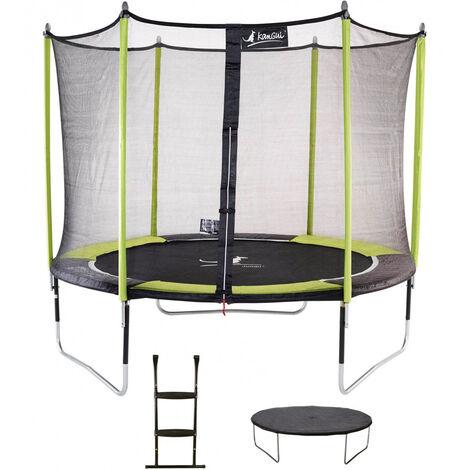 Trampoline de jardin JUMPI + Filet + Échelle + Bâche de protection - Ø 250 - 305 - 360 - 430 cm