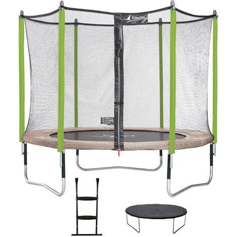 Trampoline de jardin JUMPI Taupe + Filet + Échelle + Bâche de protection - Ø 250 - 305 - 360 - 430 cm