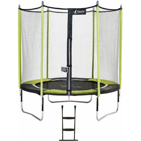 Trampoline de jardin JUMPI Vert + Filet + Échelle - Ø 250 - 305 - 360 - 430 cm