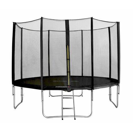 Trampoline de jardin noir avec echelle MyJump 3,70 M