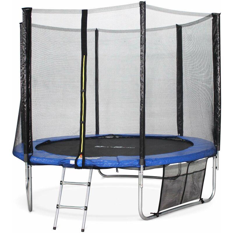 Trampoline 250cm - Pluton XXL Bleu - avec filet de protection, échelle, bâche, filet pour chaussures, kit d'ancrage, trampoline de jardin 250 cm