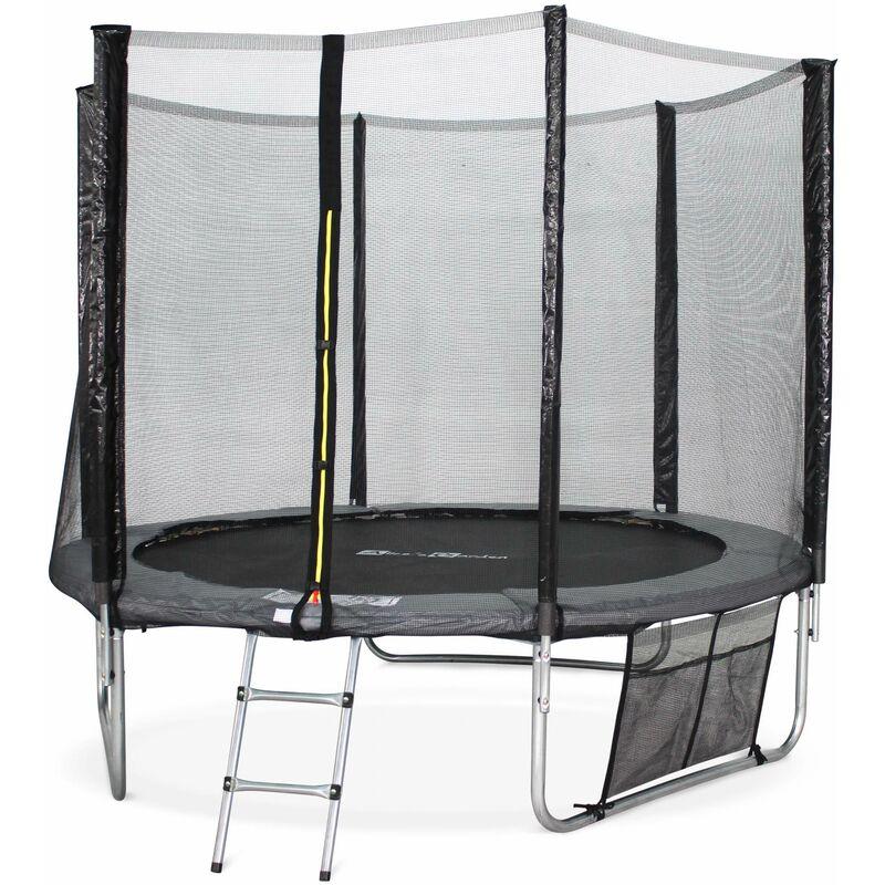 Trampoline 250cm - Pluton XXL Gris - avec filet de protection, échelle, bâche, filet pour chaussures, kit d'ancrage, trampoline de jardin 250 cm