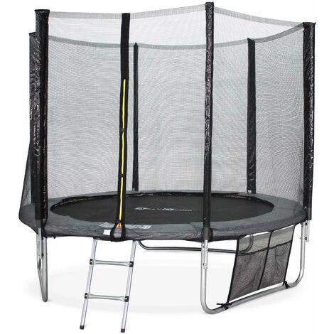 Trampoline 250cm - Pluton XXL Gris - avec filet de protection, échelle, bâche, filet pour chaussures, kit d'ancrage, trampoline de jardin 250 cm |Qualité PRO|Normes EU