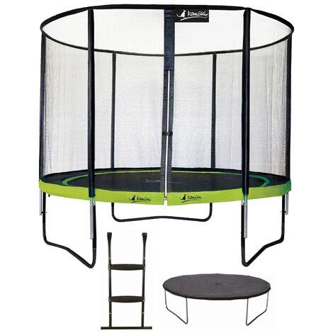 Trampoline de jardin rond 305 cm + filet de sécurité + échelle + bâche de protection PUNCHI Vert 300 - Vert