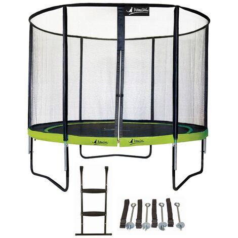 Trampoline de jardin rond 305 cm + filet de sécurité + échelle + kit d'ancrage PUNCHI ALOE 300