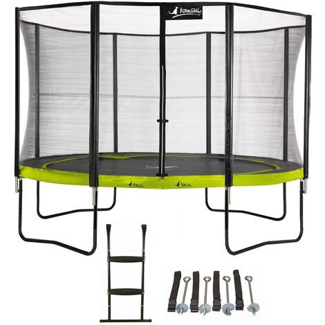Trampoline de jardin rond 305 cm + filet de sécurité + échelle + kit d'ancrage PUNCHI Vert 300 - Vert