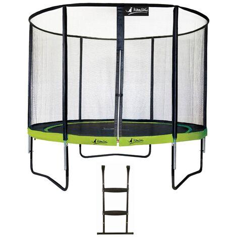 Trampoline de jardin rond 305 cm + filet de sécurité + échelle PUNCHI Vert 300 - Vert