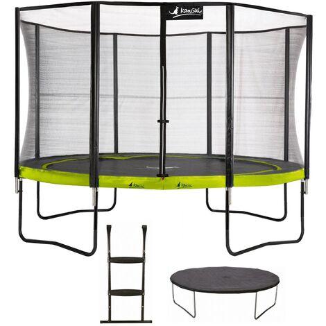 Trampoline de jardin rond 430 cm + filet de sécurité + échelle + bâche de protection PUNCHI Vert 430 - Vert