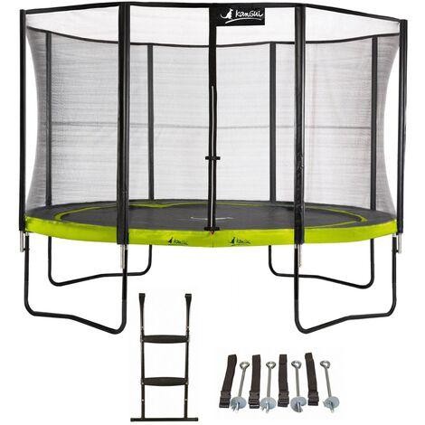 Trampoline de jardin rond 430 cm + filet de sécurité + échelle + kit d\'ancrage PUNCHI Vert 430 - Vert