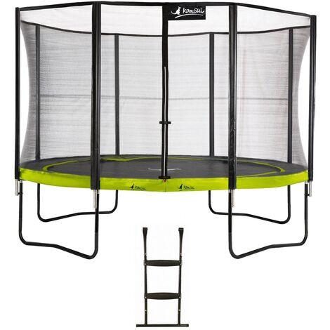 Trampoline de jardin rond 430 cm + filet de sécurité + échelle PUNCHI Vert 430 - Vert
