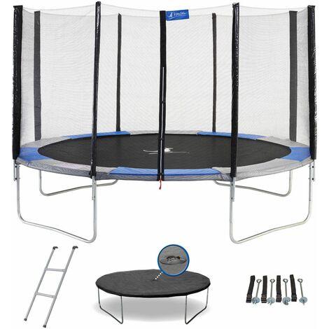 Trampoline de jardin rond avec filet, échelle, bâche et kit d'ancrage - RALLI - Ø 250 - 300 - 360 - 430cm