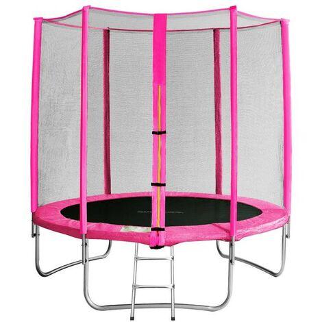 Trampoline de jardin rose avec echelle MyJump 1,85 M