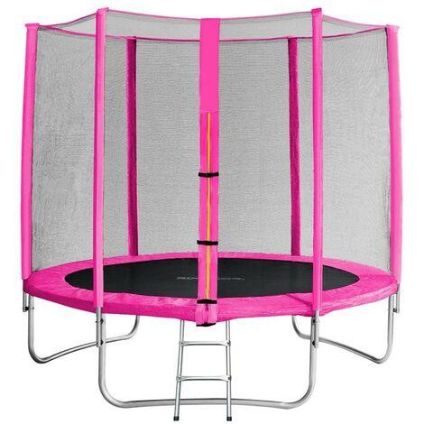 Trampoline de jardin rose avec echelle MyJump 2,45 M