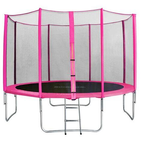 Trampoline de jardin rose avec echelle MyJump 3,70 M