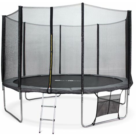 Trampoline 370cm - Saturne XXL Gris - avec filet de protection, échelle, bâche, filet pour chaussures, kit d'ancrage, trampoline de jardin 370 cm |Qualité PRO|Normes EU