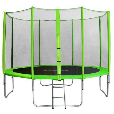 Trampoline de jardin vert avec echelle et renforts MyJump 3,70 M