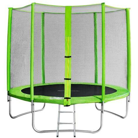 Trampoline de jardin vert avec echelle MyJump 2,45 M