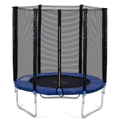 Trampoline d'exterieur avec cloture de securite et barres rembourrees, trampoline de jardin 6 pieds, transportant 80 kg, a passe le test GS et T?V