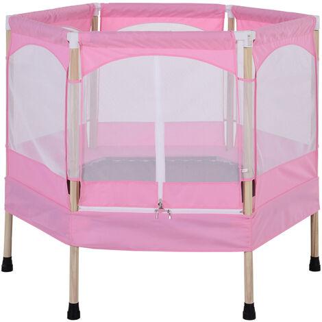 Trampoline enfant dim. 126L x 109l x 98H cm filet de sécurité porte zipée couvre-ressorts inclus rose