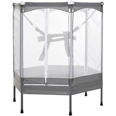 Trampoline enfant dim. 150L x 133l x 168H cm filet et harnais élastique de sécurité porte zipée usage intérieur extérieur gris