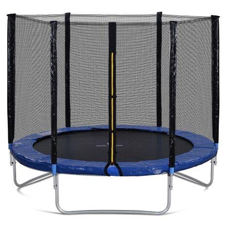 Trampoline exterieur avec filet d'enceinte de securite et poteaux rembourres, capacite de poids du trampoline de jardin de 8 pieds de 150 kg, testes GS et TUV