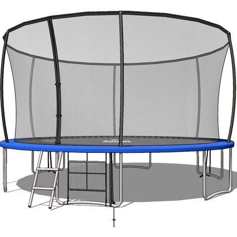 Trampoline Extérieur Bleu diam. 4,270m ( 14FT) pour Enfants et adultes avec Filets + echelle+ renfort de protection - Soulet