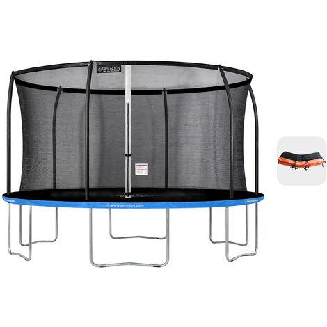 Trampoline extérieur Bleu + Orange 430 fitness Jardin 427cm - Normes EU, Design Exclusif, Ultra sécurisé
