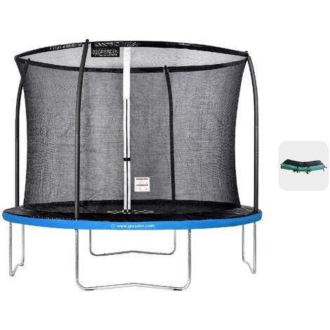 Trampoline extérieur Bleu + Vert 305 fitness Jardin 305cm - Normes EU, Design Exclusif, Ultra sécurisé