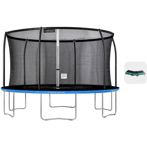 Trampoline extérieur Bleu + Vert 430 fitness Jardin 427cm - Normes EU, Design Exclusif, Ultra sécurisé