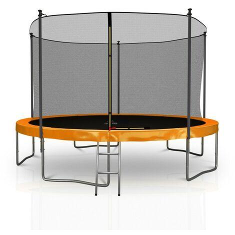 Trampoline extérieur Classique 12Ft / ø366cm KAIA SPORTS Pack trampoline de jardin avec Filet intérieur, mousse de protection, échelle et tapis de saut - 4 couleurs