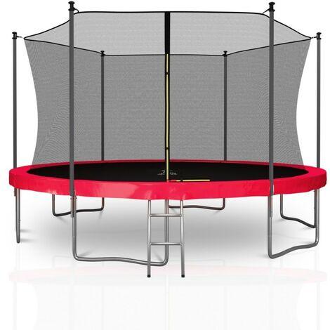 Trampoline extérieur Classique 13Ft / ø400cm KAIA SPORTS Pack trampoline de jardin avec Filet intérieur, mousse de protection, échelle et tapis de saut